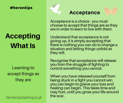 Coping with loss - #herontips Acceptance of what is